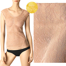 Leafage shirt By Wolford s Dusty coral punta con blätterranken
