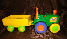 "Farm Tractor & Trailer Sound Push Chimney & Tractor Rolls 15"" Toddler Toy"