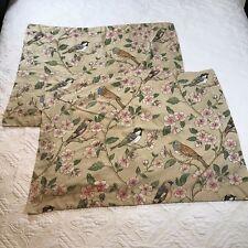Cuddledown Standard Pillow Shams Birds Blossoms 2 Pcs Beige Pink Floral Cotton