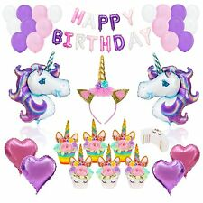 Unicorn Party Supplies Bundle Birthday Banner Cupcake Toppers Balloons Headband