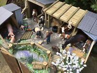 BESPOKE! 'DINGLY DELL' STABLES, WOODEN FARM BUILDING FOR 'SCHLEICH' FARM ANIMALS