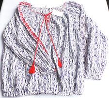 Carmen Bluse Gr.36 H&M 100% Baumwolle weiß blau tunika damen