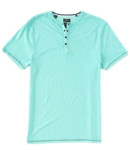 BM21411 Men's Buffalo David Bitton Kasum Henley T-Shirt 2XL Blue Turquoise
