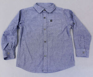 Calvin Klein Jeans Boy's Long Sleeve Button-Up Chambray Shirt KB8 Blue Size 5