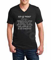 V-neck Engineer T Shirt Quote Funny Gift Engineering Student T-Shirt Definition