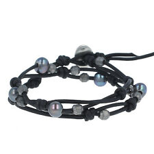 Chan Luu Peacock Blue Pearl Double Strand Bracelet on Natural Black Leather, NWT