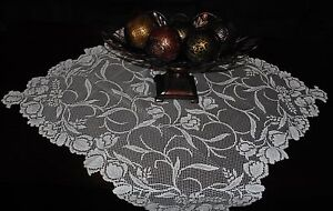 HERITAGE LACE IVORY TULIP DESIGN TABLE TOPPER 30X30 NWOT ITEM A168