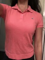 Lacoste Womens Pink Coral Preppy Polo T-Shirt Tee Sz 36 USA 2 4 XS S SMALL