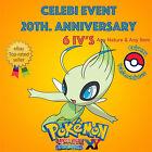 Pokémon ORAS / XY – CELEBI EVENT POKÉMON 20th ANNIVERSARY 6IV's - ANY NATURE