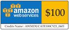 $100 AWS Amazon Web Services Credit Code Lightsail EC2 AWSEDUCATE100CY21_0601 <br/> Credits Name : AWSEDUCATE100CY21_0601