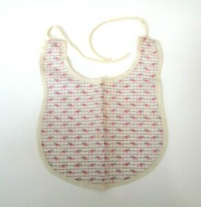 Mama Doll Baby Bib Vintage 1930s Pink White Cotton Floral