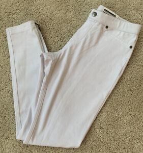 NWT Women's HUE Super Smooth Denim Skimmer Full Length Pants White Small Zipper