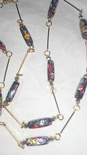 Vintage Lampwork Venetian Millefori Murano Elongated Glass Beads Necklace