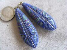 Pr Vintage Czech Egyptian Revival Art Deco Glass Bead Pendants Blue Colorful