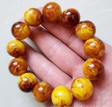 18MM natural beeswax bracelet old Amber Buddha beads bracelet for men and women