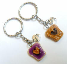 Peanut Butter & Jelly Heart Keychain Set, With Best Friend Charm, BFF :)