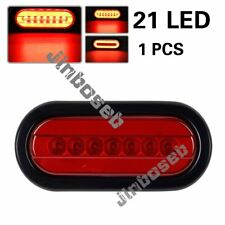 Red 6inch Oval 21LED Stop Turn Tail Truck Trailer Glo-Light Rubber Grommet 3 Wir