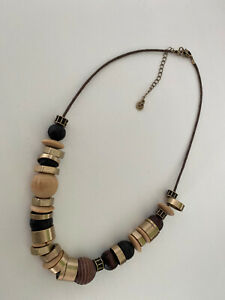 White Stuff Wood And Metal Necklace