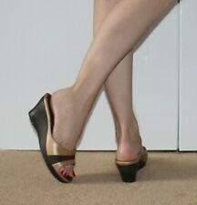 Crocs Women Shoes Wedge Sandal 4 37 Mule Brown Nude Holiday Casual Slip On