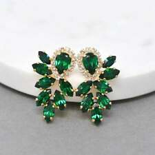 3 Ct Marquise Emerald & CZ Women's Cluster Bridal Earring 14k Yellow Gold Finish