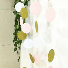 Pink White Gold Glitter Circle Polka Dots Paper Garland Banner Party Decoration