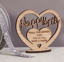 Personalised Wooden Freestanding Heart for 30th Birthday Gift with Message
