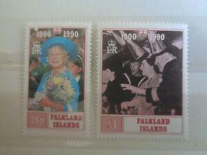FALKLAND ISLANDS 1990 QUEEN MOTHER 2v MNH MINT SG606/607