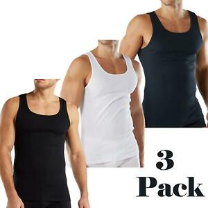 Mens Vests Sleeveless 100% Cotton Ribbed Summer Training Gym Tank Tops S-2XL 3PK