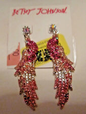 BETSEY JOHNSON PINK BLING BIRD EARRINGS