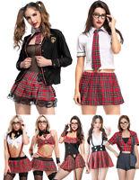 Sexy Schoolgirl Plaid Skirt Uniform Cosplay Costume Outfit Halloween Fancy Dress