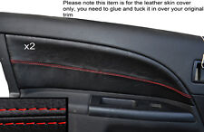 RED STITCH 2X FRONT DOOR CARD TRIM SKIN COVERS FITS FORD MONDEO MK3 2001-2007