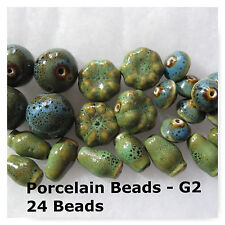 24 Porcelain Beads Green Blue Jewelry Spacer Beads 15mm 18mm 20mm
