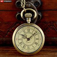 Vintage Bronze Steampunk Pocket Watch Quatrz Open Face Chain Pendant Necklace