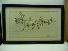 Vintage Pen & Charcoal Drawing Robert Mayokok Caribou Wood Frame Signed