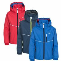 Trespass Hattrick Boys Waterproof Jacket Reflective School Rain Coat with Hood