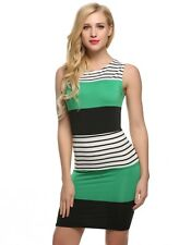 """JADEN"" LADIES GORGEOUS SIZE 12-14 BLACK GREEN WHITE STRIPE STRETCH PENCIL DRESS"