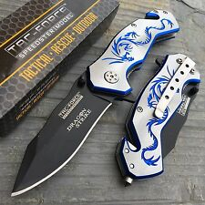 TAC FORCE Silver Laser Blue Fantasy Dragon Outdoor Tactical Rescue Pocket Knife
