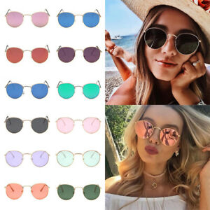 Fashion Vintage Round Sunglasses Men Women Cute Retro Oversized Mirror Glasses