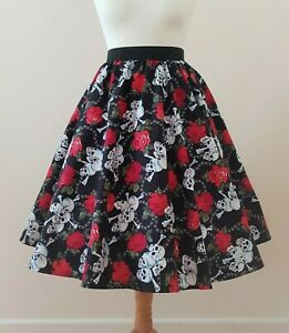 1950s Circle Skirt Skulls And Roses All Sizes - Halloween Pin Up Gothic Dress #1