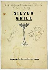 1937 Vtg Menu SILVER GRILL RESTAURANT Original Dixieland Jazz Band Buffalo NY