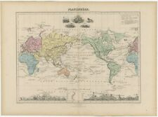 Antique Map of the World on Mercator's Projection by Migeon (1880)