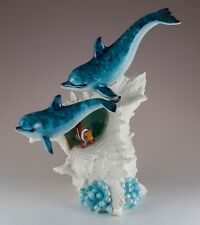 "Pair of Dolphins With Clown Fish In Seashell Figurine 9"" High Resin New In Box!"