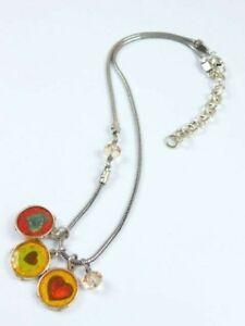 "BRIGHTON 3 Heart Charm Crystal Necklace Pendants ""U R My Sweet"" ""Good Luck"""