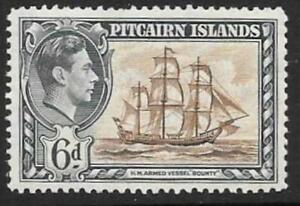 PITCAIRN ISLANDS SG6 1940 6d BROWN & EMREALD GREEN MNH