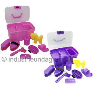 ML Pferde Putzbox Putzkasten für Kinder 8-teilig Inhalt Pferdeputzbox Pink Lila