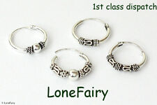 Solid 925 Sterling Silver Bali Style 12mm Nose Rings Ethnic Hippy Festival