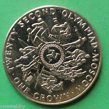 1980 Isle of Man Moscow Olympics Uncirculated Crown SNo36647