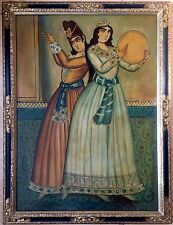 late19th century persian school oil painting on canvas signed gilt frame