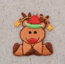Christmas Reindeer - Sitting/Santa Hat - Iron on Applique/Embroidered Patch