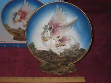"""Fantasy Pegasus & Baby Plate 7 1/2"""" w/Stand - New In Box!"""